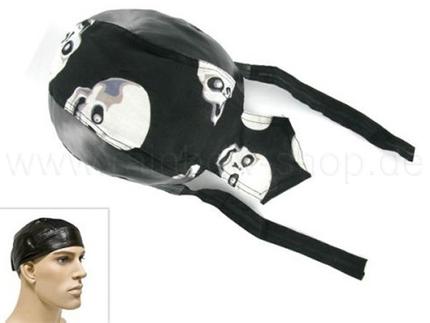 ZAL-047 Zandana, Leder Optik Biker Kopftuch  Design: Totenköpfe  Farbe: schwarz, weiss