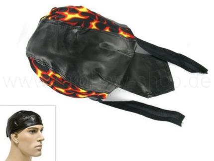 ZAL-076 Zandana, Leder Optik Biker Kopftuch Design: Flammen Farbe: schwarz, rot, gelb