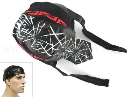 ZAL-051 Zandana, Leder Optik Biker Kopftuch  Design: Spinne und Tribal  Farbe: schwarz, weiss, rot