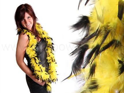 BOA-06 Federboa Stola Schals gelb/schwarz