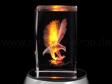 KQ-128 Kristall Quader Motiv: Adler Farbe: klar
