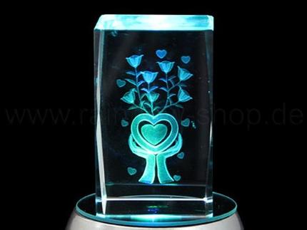 KQ-131 Kristall Quader Motiv: Herz, Blumen Farbe: klar