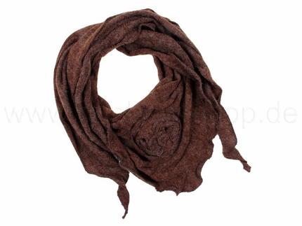 SCH-06braun Damen Schal unifarben mit Blume braun