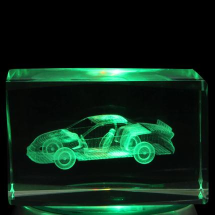 KQ-115 Kristall Quader Motiv: Auto Farbe: klar – Bild 1