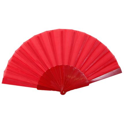FAE-04 Fächer Faltfächer Windfächer rot einfarbig Länge ca. 23 cm, Spannweite ca. 43 cm