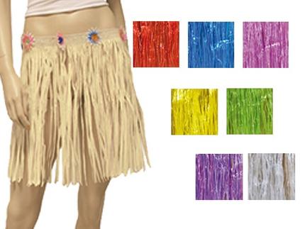 BR-k-MIX Baströcke Hawaii Röcke kurz Mix verschiedene Farben ca. 40 cm Kunstbast
