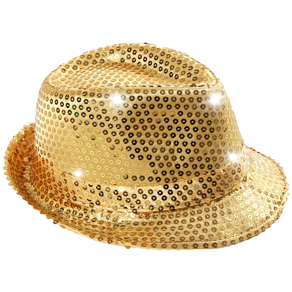 TH-44 LED Trilby Hut gold Motiv: Club Style mit Pailletten
