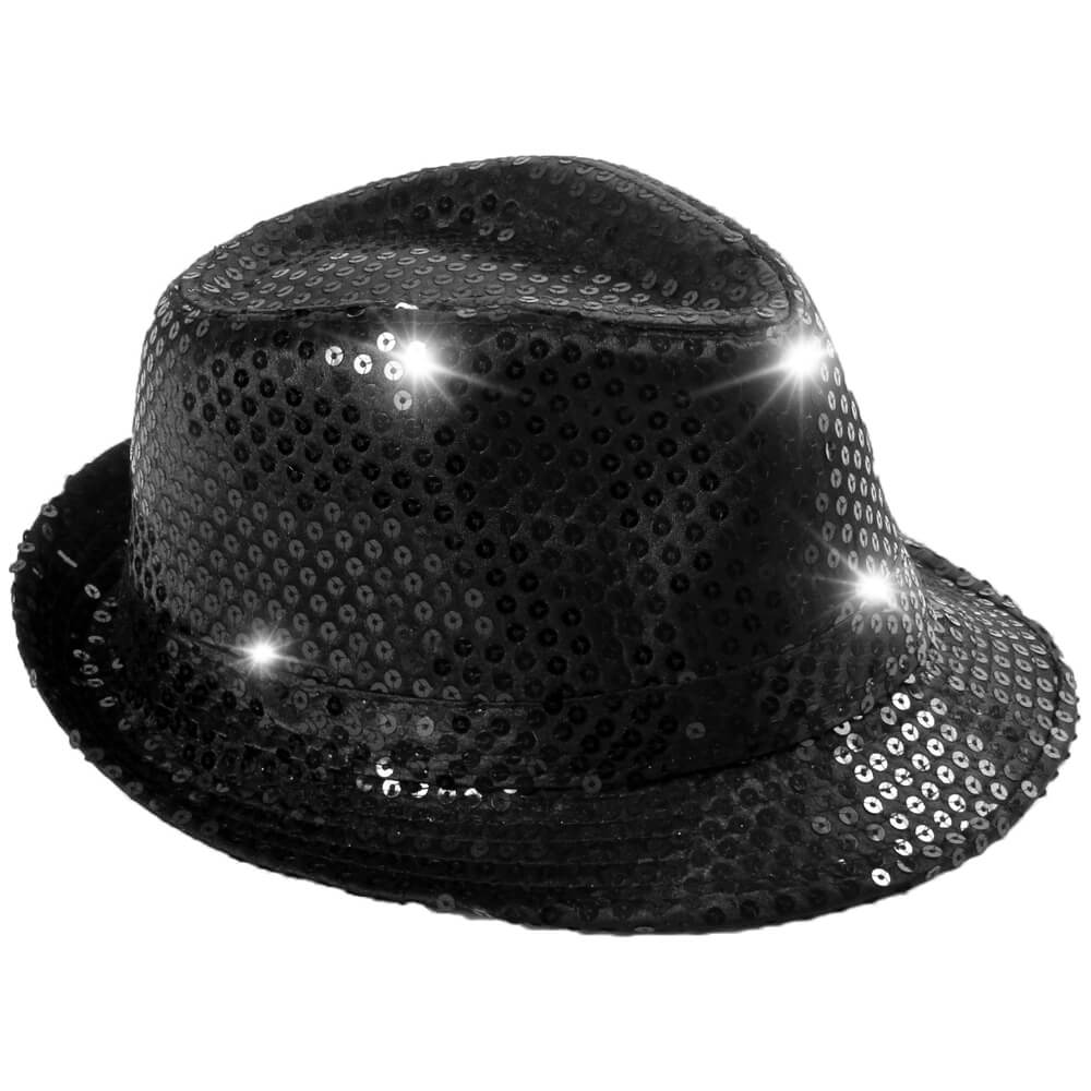 TH-40 LED Trilby Hut schwarz Motiv:  Club Style mit Pailletten