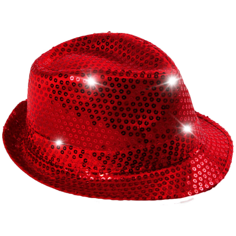 TH-41 LED Trilby Hut rot Motiv:  Club Style mit Pailletten