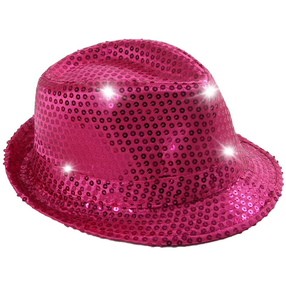 TH-42 LED Trilby Hut pink Motiv: Club Style mit Pailletten