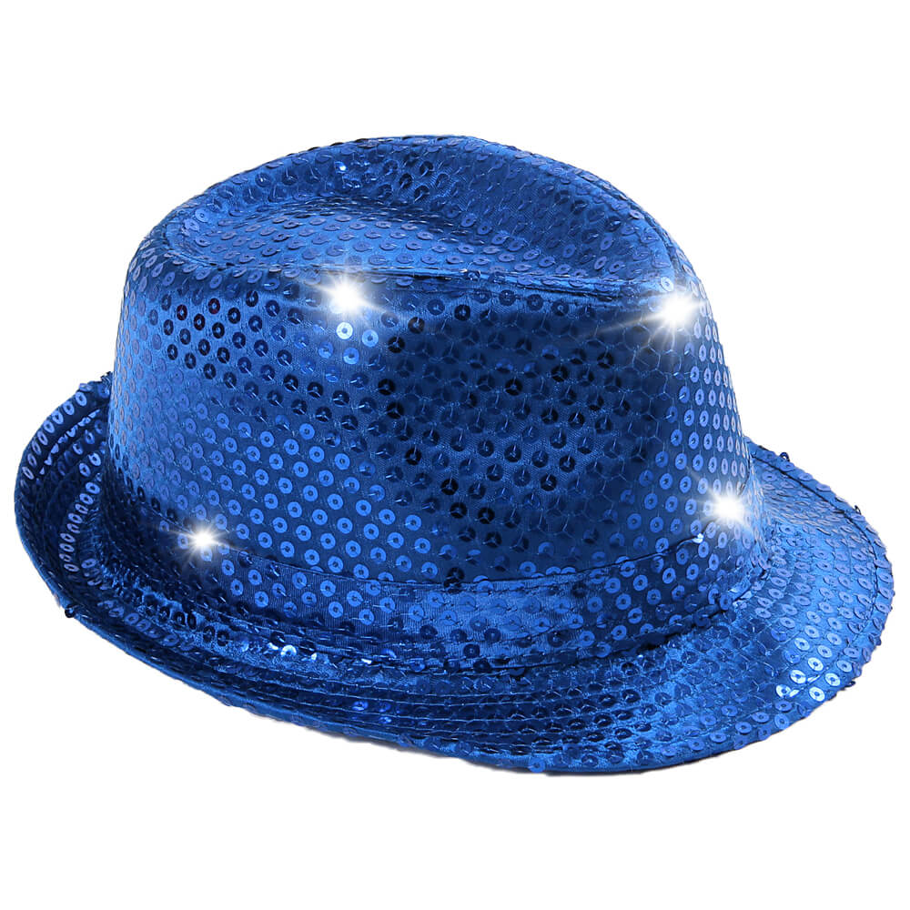 TH-43 LED Trilby Hut blau Motiv: Club Style mit Pailletten