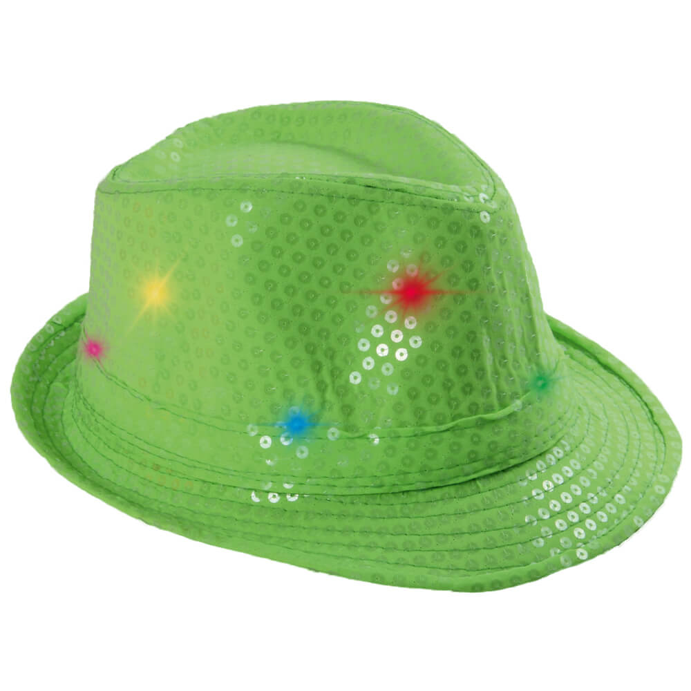 TH-50 LED Trilby Hut grün Motiv: Club Style mit Pailletten