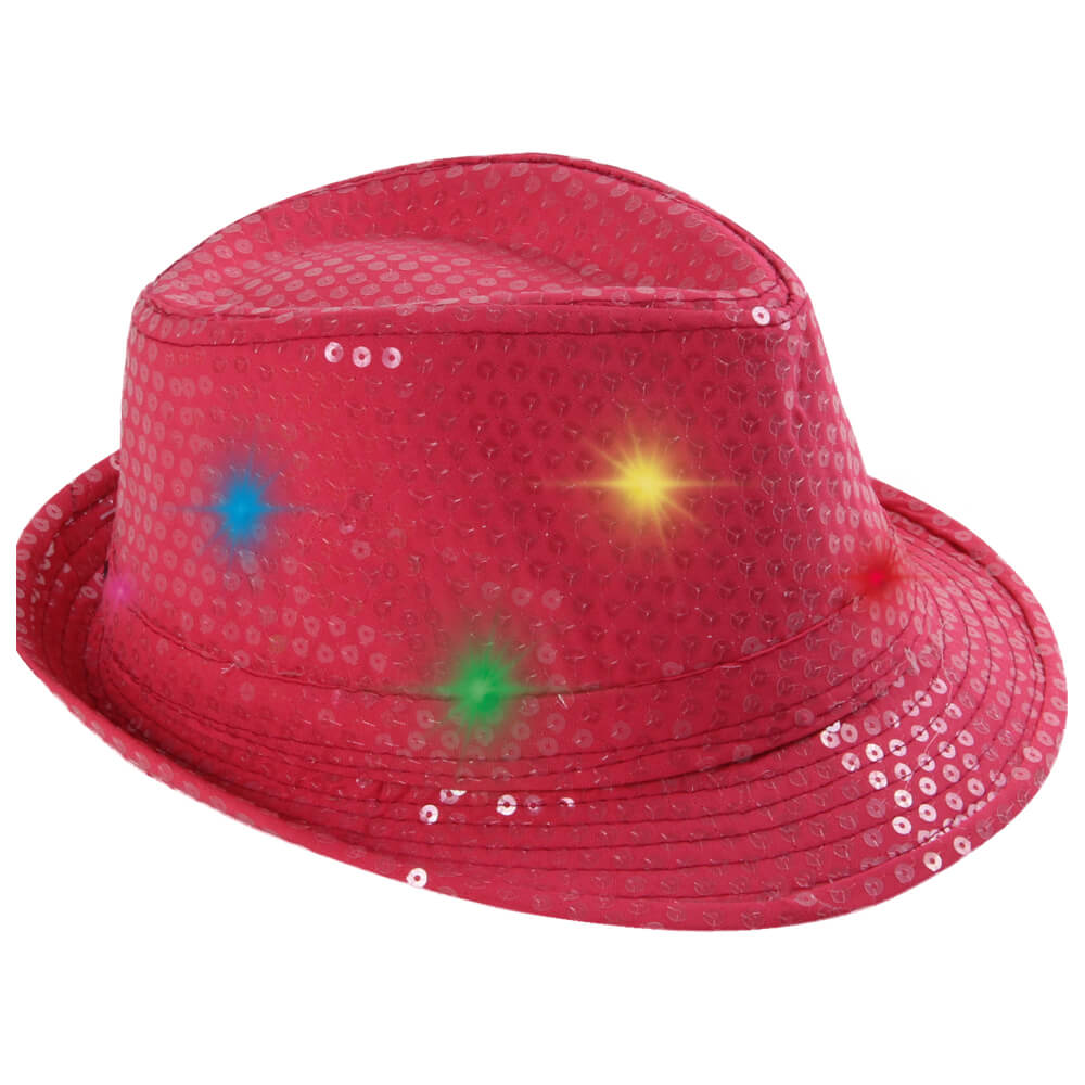 TH-53 LED Trilby Hut rosa Motiv: Club Style mit Pailletten
