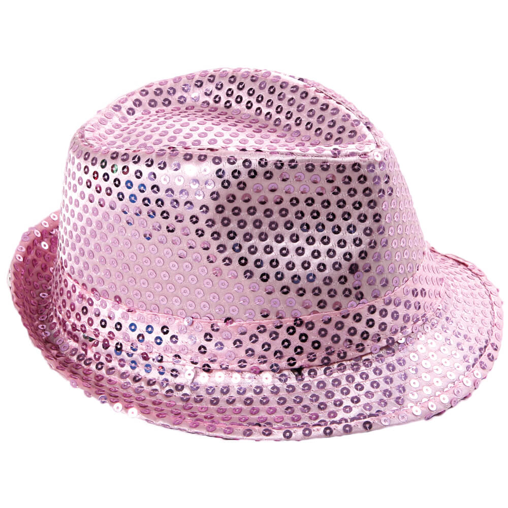 TH-63 Trilby Hut rosa mit Pailletten