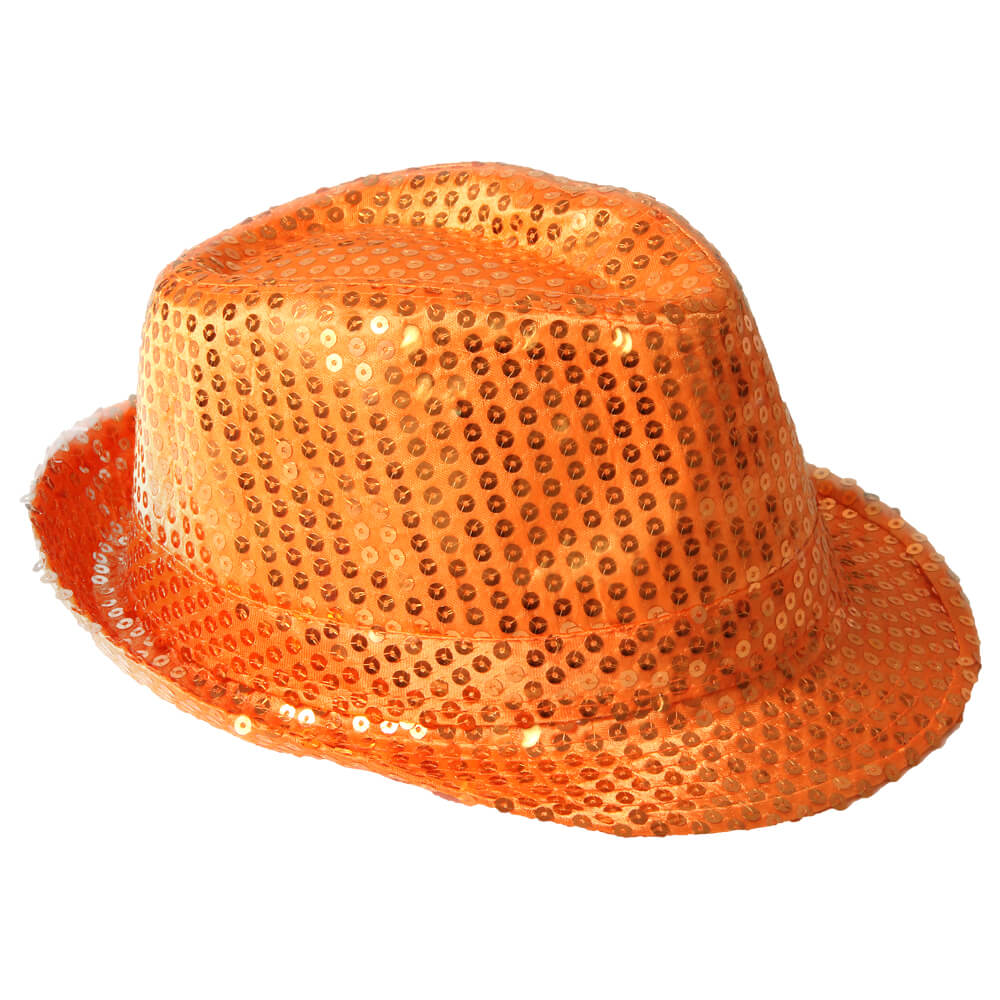 TH-65 Trilby Hut orange mit Pailletten