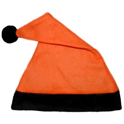 WM-42b Weihnachtsmützen Nikolausmützen orange mit schwarzem Rand