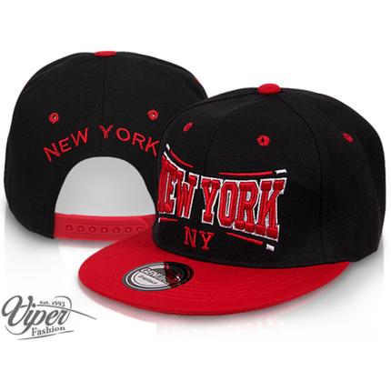 CAP-01NY Snapback Flatbrim Cap  New York  Farbe: schwarz / rot