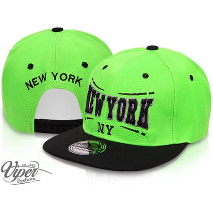 CAP-03NY Snapback Flatbrim Cap  New York  Farbe: grün / schwarz