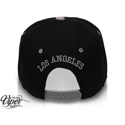 "CAP-17LA Snapback Flatbrim Cap ""Los Angeles"" Farbe: schwarz / grau – Bild 3"