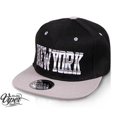 "CAP-36NY Snapback Flatbrim Cap ""New York"" Farbe: schwarz / grau – Bild 2"