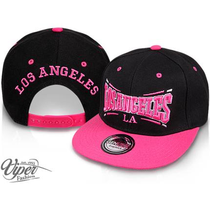 CAP-44LA Snapback Flatbrim Cap  Los Angeles  Farbe: schwarz / pink