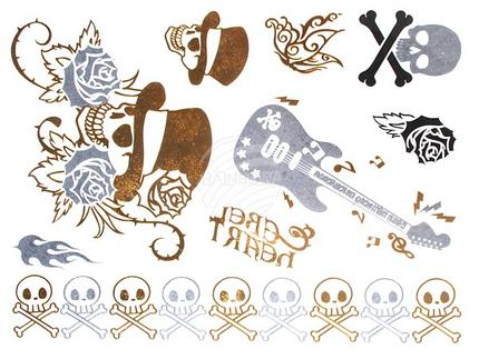 MT-56 Temporäre Tattoos, Klebe Tattoos, Fake Tattoo metallic