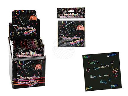 29-3158 Kratzpapier, Colourful, ca. 8,5 x 8,5 cm, 24 Stück mit 1 Bambus-Kratzstab im Polybeutel mit Headercard, 24 Stück im Display