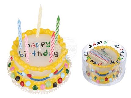 100804 Bunte Wachstorte mit 5 Kerzen, Happy Birthday, ca. 10 x 5 cm, in PVC-Dose