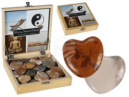 24-1001 Natursteinherz, Worry Hearts, ca. 4,5 cm, mehrfarbig sortiert, 36 Stück im Holzdisplay, 12672/PAL