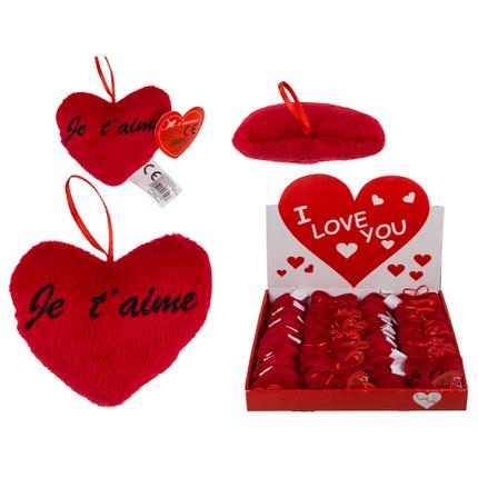 62-6108 Rotes Plüschherz, Je t'aime, ca. 10 cm, 48 Stück im Display, 4608/PAL