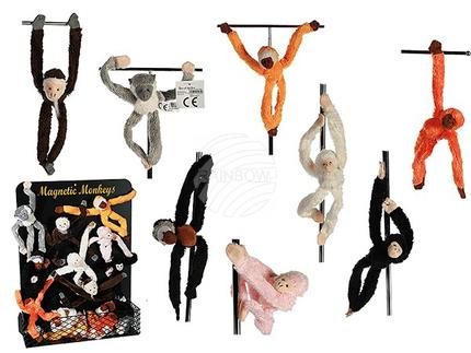 63-1062 Softplüsch-Magnet, Affen mit langen Armen & Beinen, ca. 23 cm, 8-fach sortiert, 96 Stück mit Magnettafel