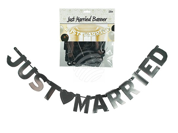 719181 Girlande, Just Married, silbermetalllic-finish, L: ca. 1,6 m, in Polybeutel mit Headercard