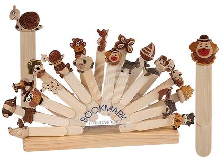 76-1960 Holz-Lesezeichen, Tiere & Figuren, ca. 13 cm, 24-fach sortiert, 96 Stück mit Display