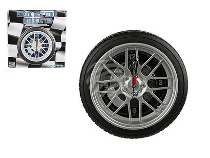 79-3020 Kunststoff-Wanduhr, Reifen, mit 16 LED, D: ca. 35 cm, für 4 Mignon Batterien (AA) auch Adapterbetrieb, 96/PAL