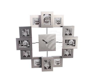 79-3120 Aluminium-Wanduhr mit 12 Bilderrahmen, ca. 33,5 cm, für 4 Fotos 6 x 4 cm & 8 Fotos 4 x 4 cm, für 1 Mignon Batterie (AA), 160/PAL