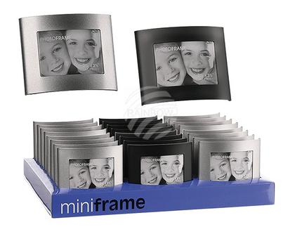 94-2171 Geschwungener Metall-Bilderrahmen, 6 x 9 cm, 2-farbig sortiert, 24 Stück im Aufsteller, 2880/PAL