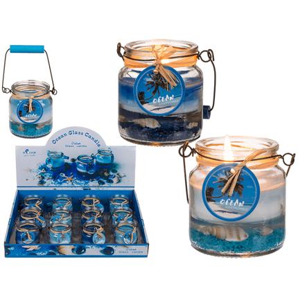 100144 Kerze im Glas mit Metallbügel, Maritim, ca. 6 x 6,5 cm, 2-farbig sortiert, 12 Stück im Display