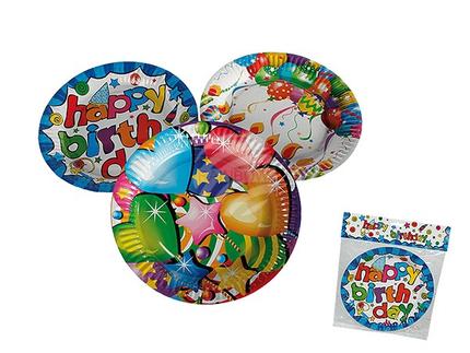 62-0933 Pappteller, Happy Birthday, ca. 23 cm, 3-fach sortiert, 6 Stück im Polybeutel mit Headercard, 3456/PAL