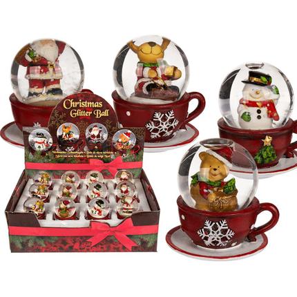 946101 Polyresin-Schneekugel, Weihnachtsfigur, auf roter Kaffeetasse, ca. 6,5 x 7 cm, 4-fach sortiert, 12 Stück im Display, 1680/PAL