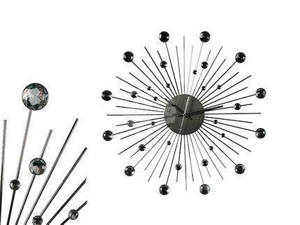 79-3165 Metall-Wanduhr, Kristall-Stern, D: ca. 50 cm, für 1 Mignon Batterie (AA), 72/PAL