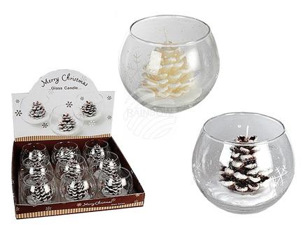949018 Kerze im handbemaltem Glas mit Weihnachtsdekor, Kieferzapfen, ca. 10 x 8 cm (6 x braun, 3 x creme) 9 Stück im Display