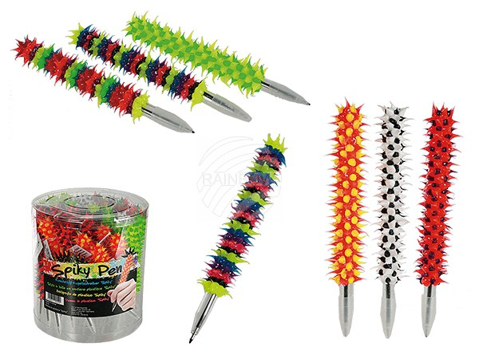 29-3015 Kunststoff-Kugelschreiber, Spiky, ca. 15 cm, 6-farbig sortiert, 36 Stück in PVC-Dose, 11520/PAL