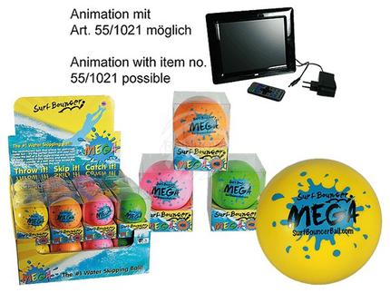 12-0965 Soft-Springball, Surf Bouncer - Mega, ca. 8,5 cm, 4-farbig sortiert, in PVC-Box, 24 Stück im Display