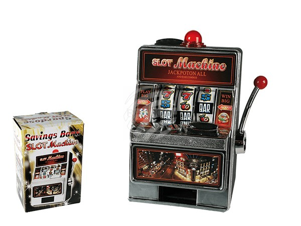 69-1228 Kunststoff-Spardose, Spielautomat, mit Klingel & LED, ca. 19 x 13,5 cm, für 2 Mignon  Batterien (AA), 336/PAL