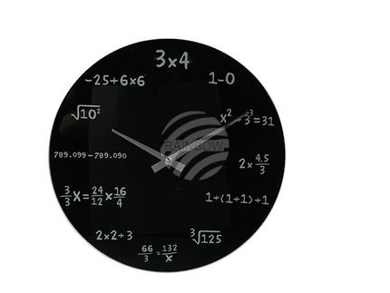79-3029 Schwarze Glas-Wanduhr, Mathematic, D: ca. 35 cm, für 1 Mignon Batterie (AA)