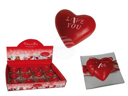 100739 Rote Herzkerze auf Glasteller, I love you, ca. 6,5 x 6,5 cm, 12 Stück im Di