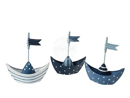 830281 Kartenhalter, blau, weißes Metall-Boot, ca. 12 x 10 cm, 3-fach sortiert
