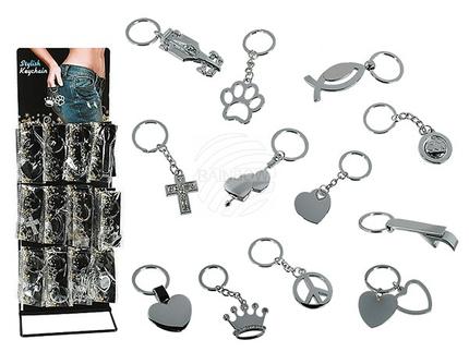 24-1057 Metall-Schlüsselanhänger, Symbol, ca. 9 cm, 12-fach sortiert, 48 Stück auf Metalldisplay