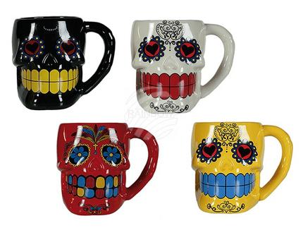78-5999 Porzellan-Becher, Coloured Skull, ca. 8 x 9 cm, 4-farbig sortiert, 672/PAL