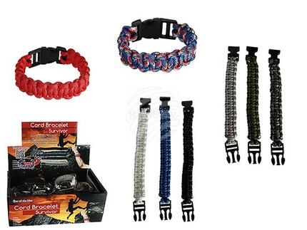 76-0017 Kordel-Armband, Paracord, 2 Größen, 8-farbig sortiert, 24 Stück im Display
